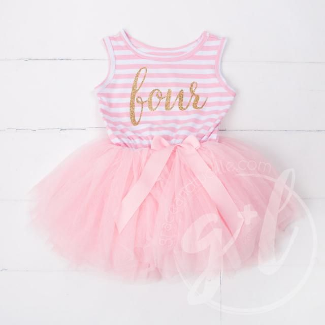 5adcca46334d Fourth Birthday Outfit, 4th birthday dress, tutu dress with gold letters  and pink tutu