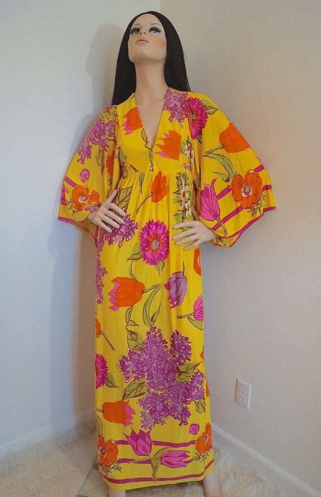 ea0f633395e 70s Floral Angel Sleeve Hippie Dress   1970s Bohemian Maxi Dress   Empire  Waist Maxi Dress