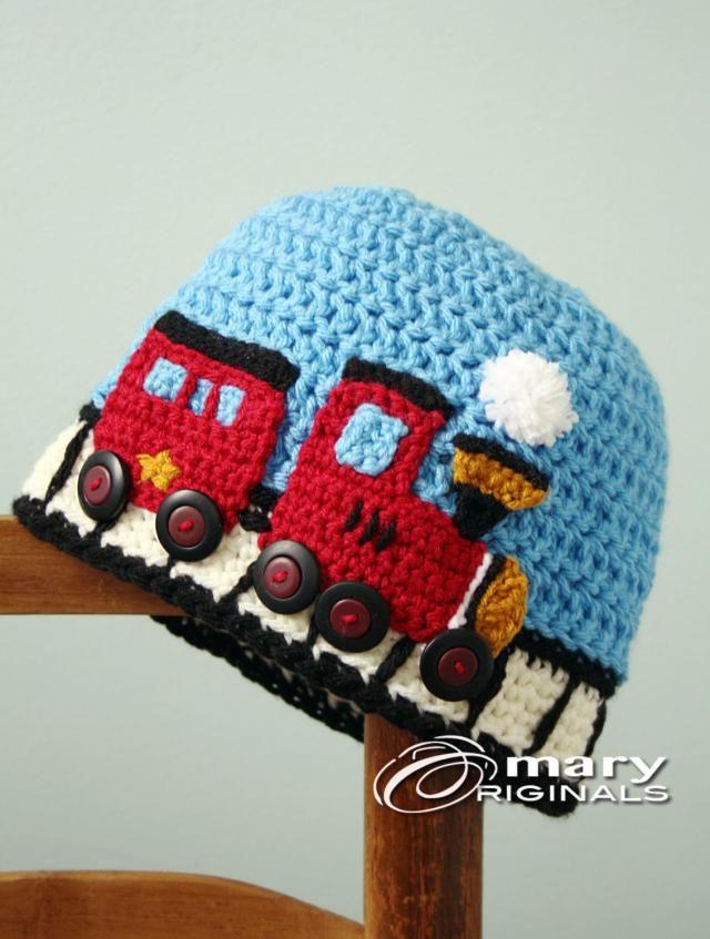 b207eacb042ce7 Train Hat, Choo Choo Train Hat, Crochet Beanie, Railroad Cap, Boy&