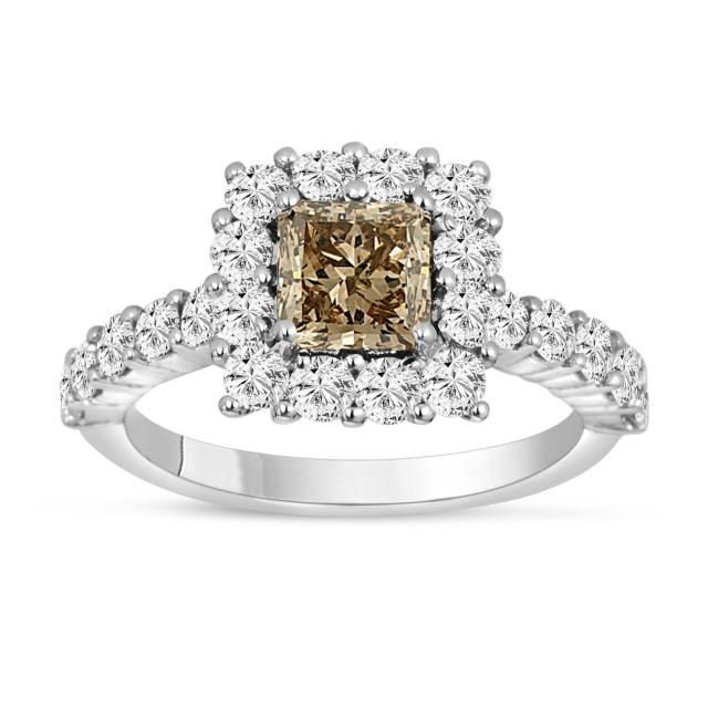 0.65 CT Natural Fancy Brown Diamond Engagement Wedding Band Ring Sterling Silver
