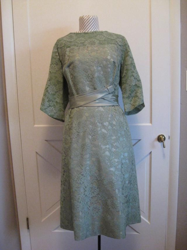 0c4640075c Gorgeous Mid Century Olive Green Lacey Short Dress  Easter  Special  Occasion  Party