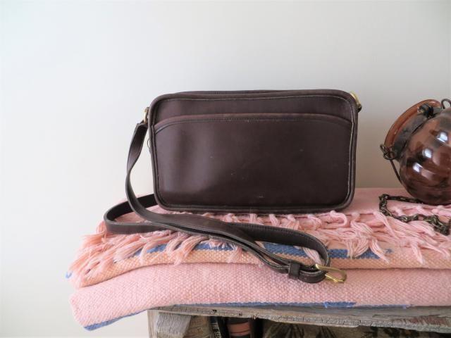 d823f4e0fb Vintage Coach Bag Full Grain Leather Saddle Bag Satchel Dark Chestnut Brown  Designer Crossbody 1980s