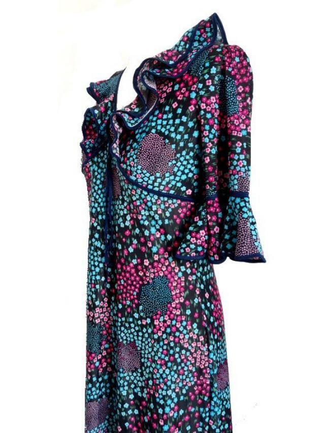 24454ce0fb 70S bohemian floral french MAXI dress // Festival Hippie chic french boheme maxi  dress /