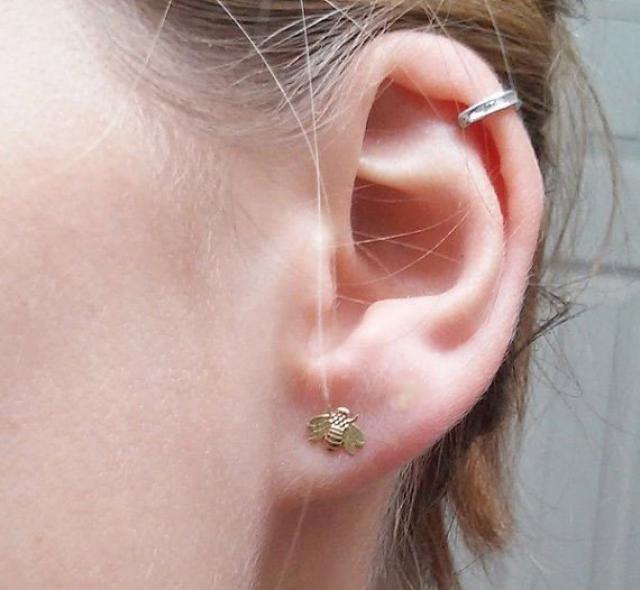 0ce82dd69 Tiny Bee Stud Earring - 14k Solid Gold - 7mm Dainty Stud Earrings -  Minimalist Jewelry