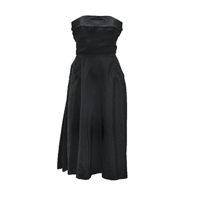 2768c01f4d79 Strapless Dress, Black Taffeta Dress, Cocktail Party, Evening, Bustle,  Corset Bodice