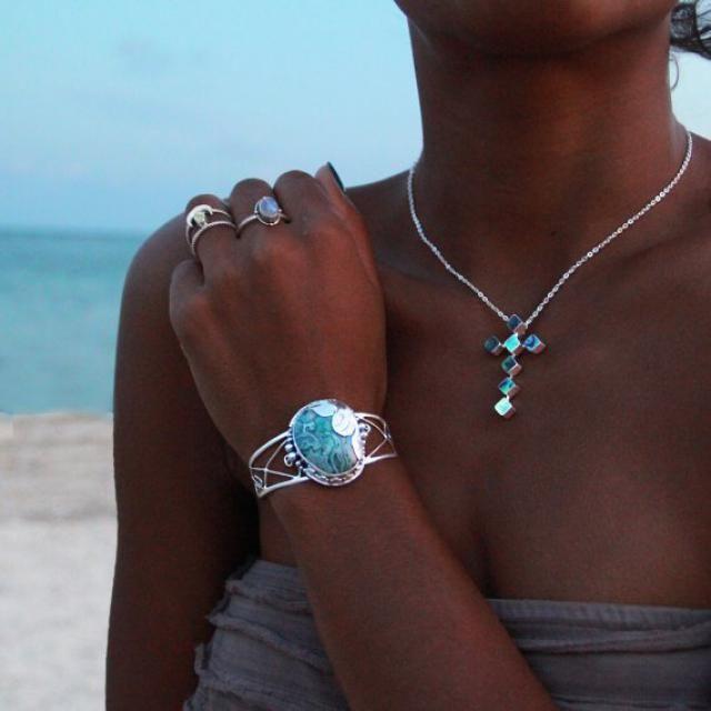 Statement Designer Agate Boho Festive Handmade Natural Rare Gem Stone Nacklace