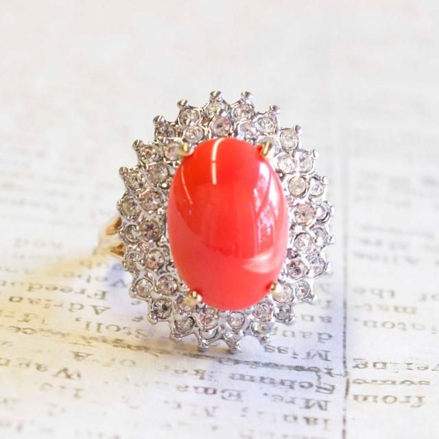 95a16e0d2 Vintage Ring 1970s Coral Cabochon Bead Clear Swarovski Crystals 18kt Yellow  Gold Electroplated Made in USA