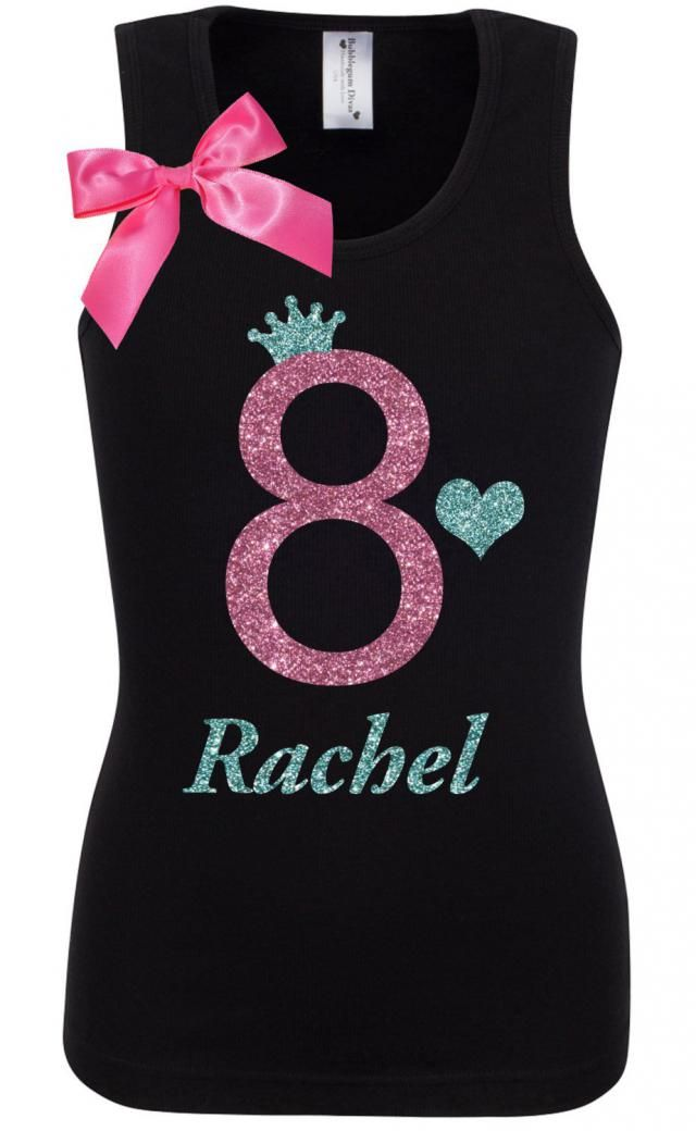 8th Birthday Shirt Party Girls Outfit Black Pink Girl Personalized