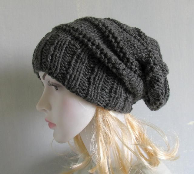 40626150f38 Black Slouchy Beanie Hat Mens Slouch Hat Hand Knitted Slouchy Beanie Tam  Dreads Hat Unisex