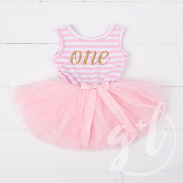 8b45a71acd01 First Birthday outfit dress with gold glitter letters and pink tutu for  girls or toddlers,