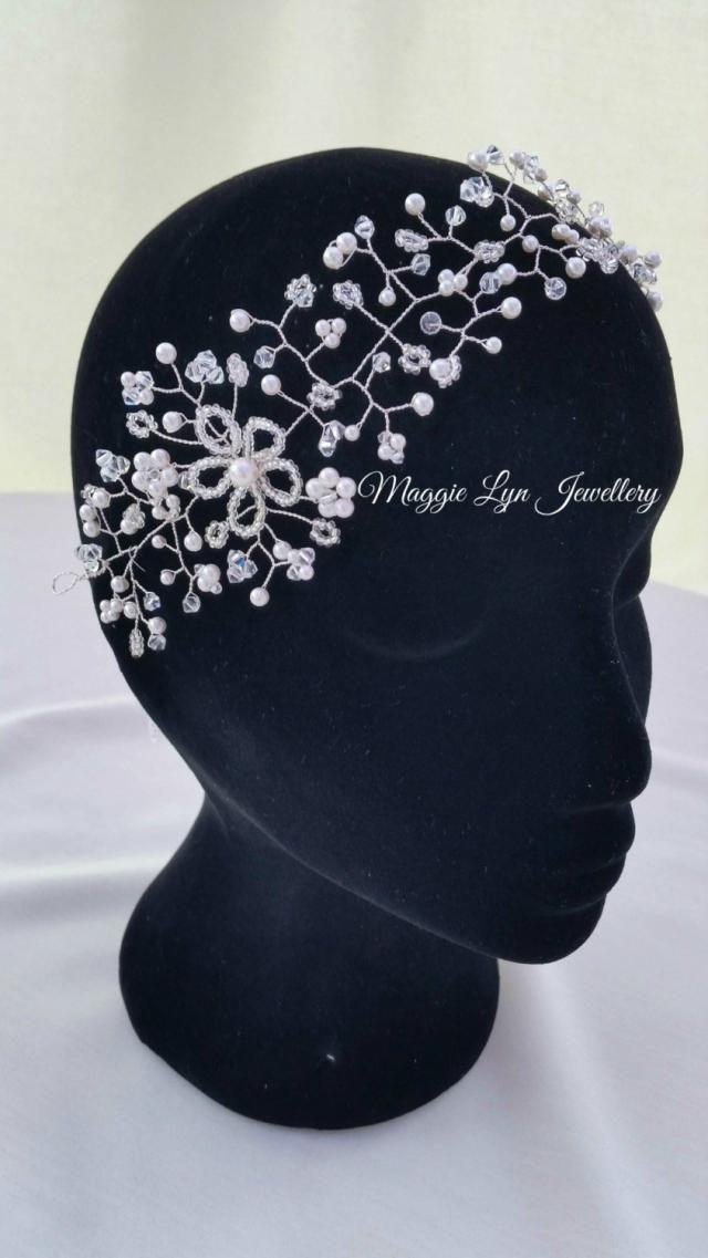 3b2562d24edf54 Stunning large bridal hair vine accessory. UK handmade. Swarovski Crystals  and pearls. wedding