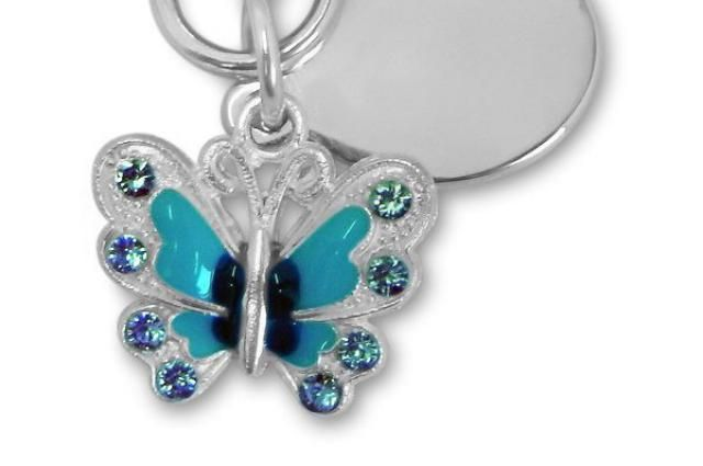 Ladies butterfly keyring engraved PL47 personalised with velvet gift pouch