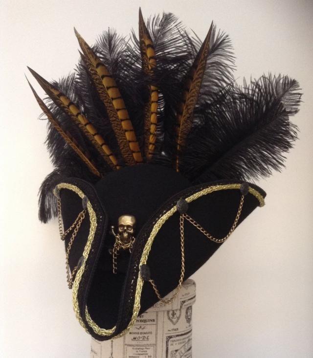 2f8742ecd72 Gothic Steampunk black and gold pirate Tricorn hat