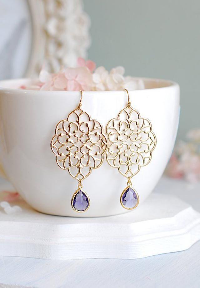 2db4b9377705 Gold Filigree Earrings Purple Drop Earrings Tanzinite Amethyst Purple Glass Dangle  Earrings Chanderlier Earrings Purple…