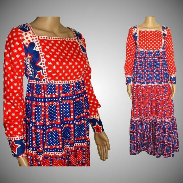 8ae50e8ddc36 Vintage 1960s Dress . Maxi . Bohemian , Red . White . Blue . Cotton .