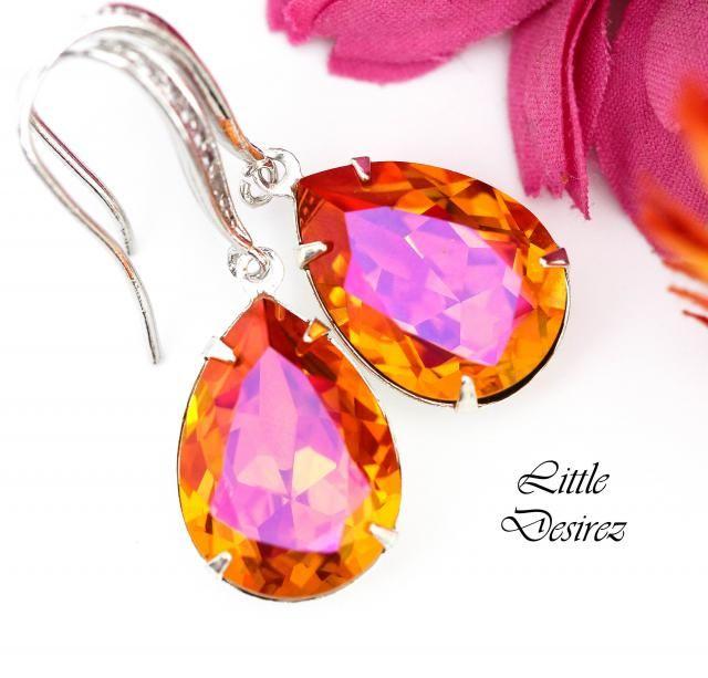 00536133d Orange Pink Earrings Fuchsia Orange Earrings Swarovski Crystal Astral Pink  Earrings Bridesmaid Earrings Bridal Earring …