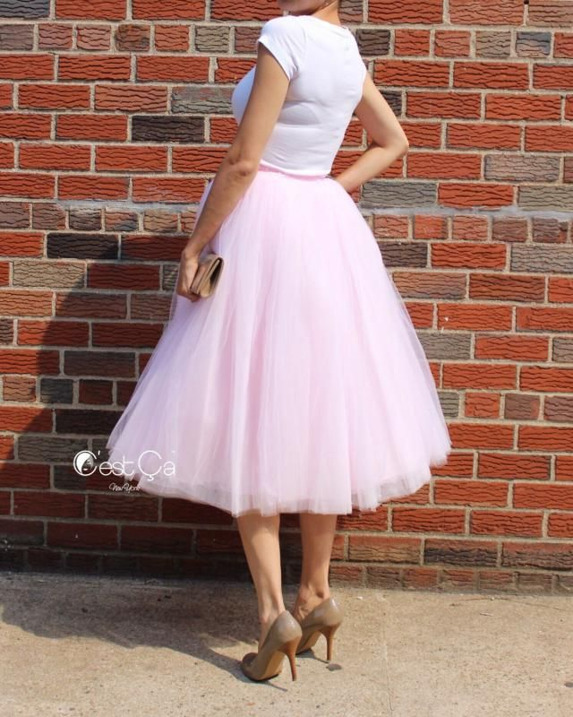c86286980a Clarisa - Blush Pink Tulle Skirt, Tea Length Tulle Skirt, 7-Layers Very