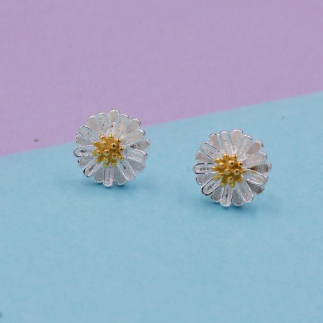 21caed002 Daisy Stud Earrings in Sterling Silver with Part Gold Plating and Textured  Finish