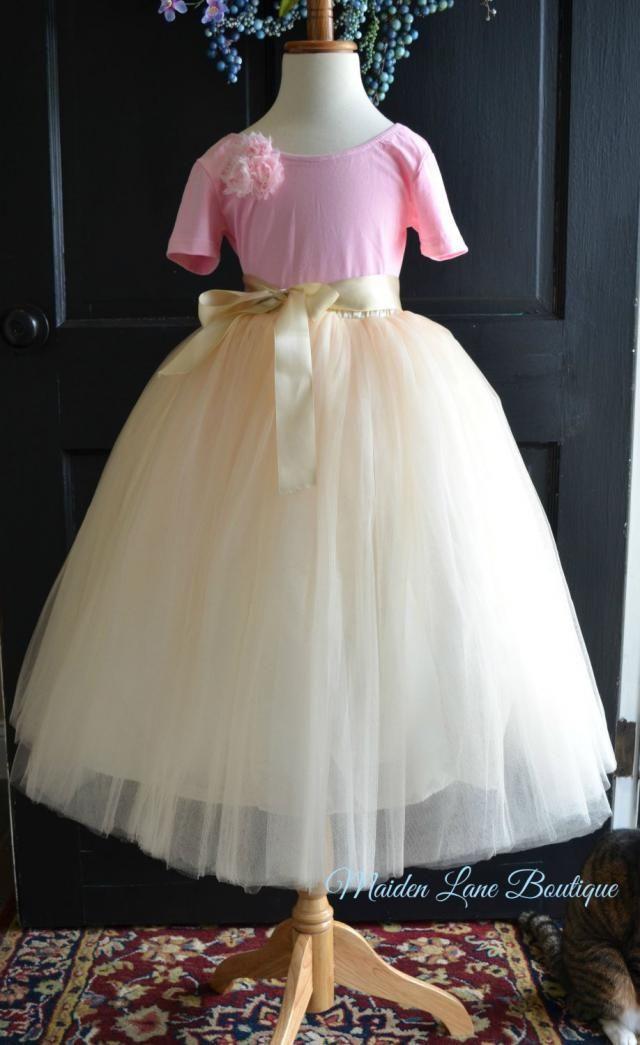 b0f7c89916 Flower girl Ivory Champagne Tutu with sash, Ivory Tulle Skirt, Ivory Tutu,  Girls