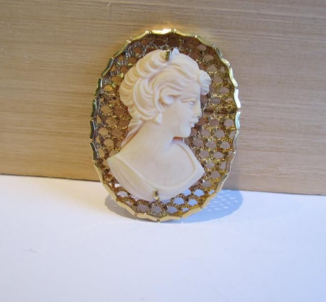 307d7aee1 14k yellow gold shell cameo, Shell cameo, unique cameo, Cameo brooch/ pin