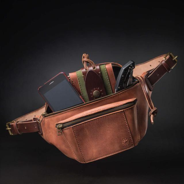 c90ae9b6e95 Leather fanny pack by Kruk Garage Hip bag Cognac brown leather Belt bag  Festival pack Travel