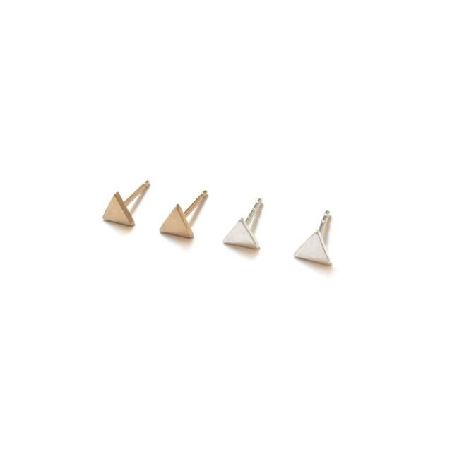 2e69377d3 Handmade Tiny Triangle Earrings / / Minimalist Studs in Sterling Silver or  Solid 14k Gold