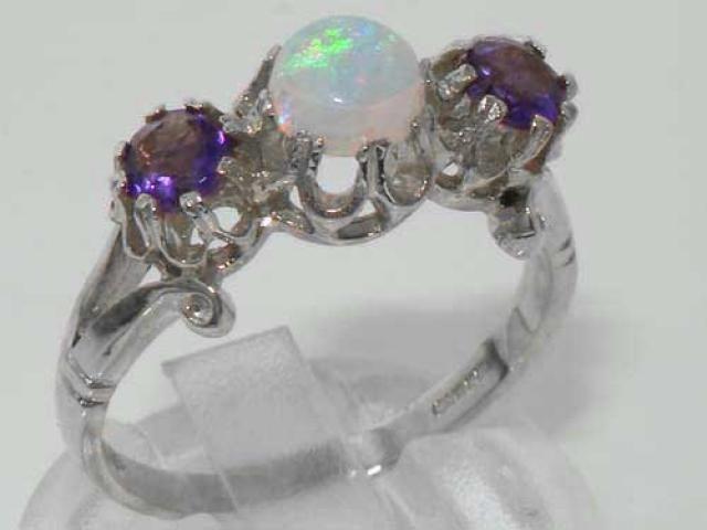 Solid 925 Sterling Silver Ladies Royal Engagement Ring SR310-Handmade Amethyst