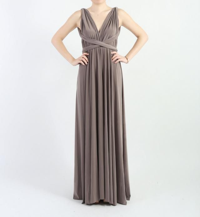 13f5e283b988 Taupe LONG Floor Length Ball Gown Infinity Dress Convertible Formal  Multiway Wrap Dress Bridesmaid Dress Party