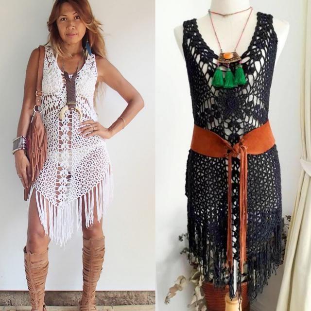 c27fc3af2d34 Cross Crochet Boho Dress with long Fringe/Off-White Colors/Festival crochet  dress