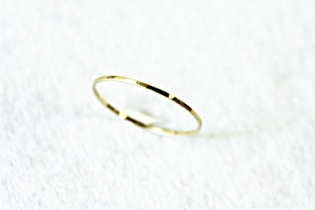 32fbfea31ee391 Delicate Hammered Band Thin 14k Rose Gold Ring in 2019