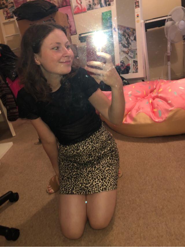 Feeling a bit wild with this leopard print denim skirt