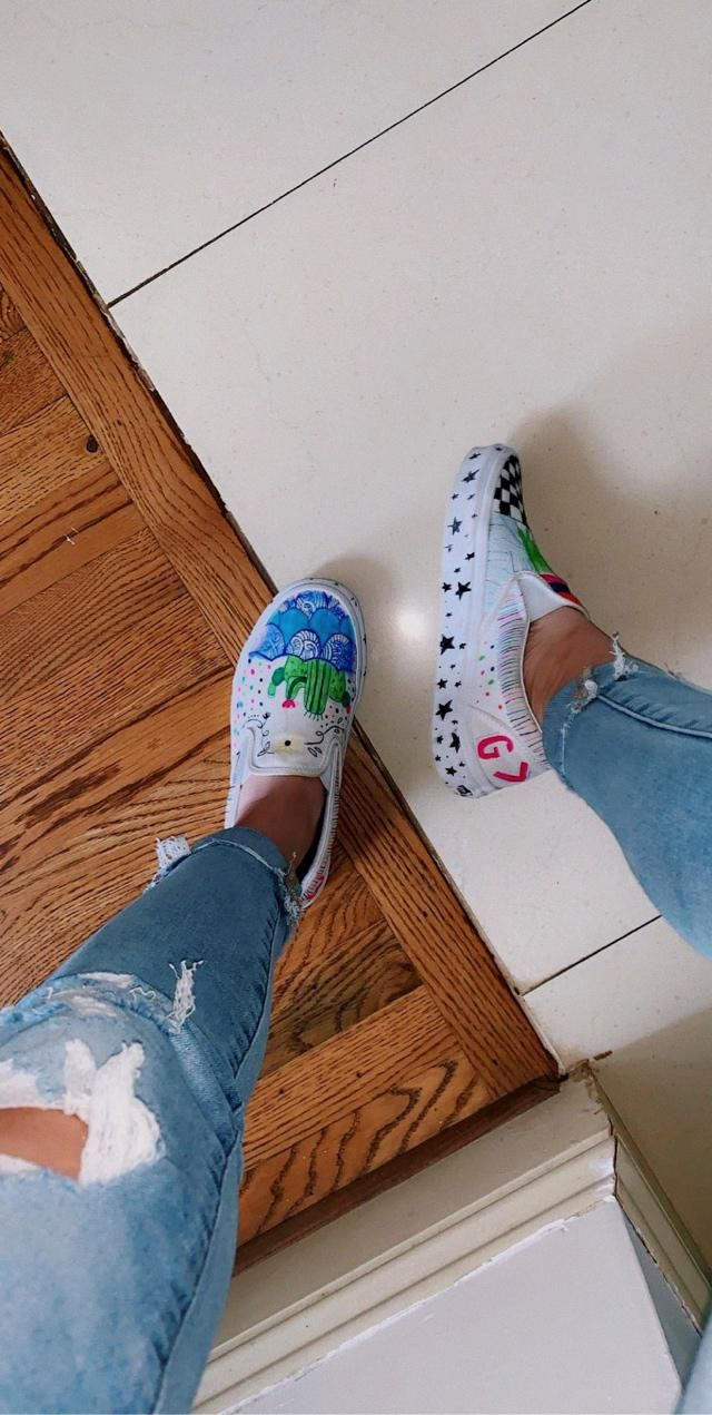 Took my old pair of vans and got creative with it!!! It was so much fun :))))
