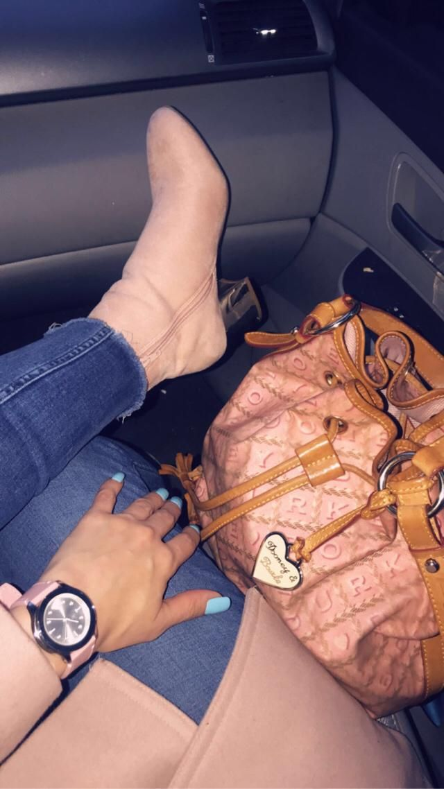 Baby Pink Aldo booties.. Dooney Bourke Pink Bucket Bag... Movado Pink Watch ... Calvin Klein Pink PeaCoat
