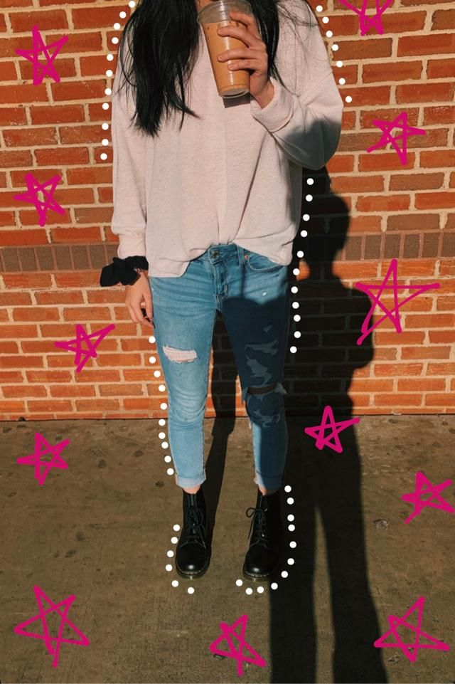 OOTD - pink sweatshirt, rip jeans, doc martens boot, and spice up your outfit with a scrunchie