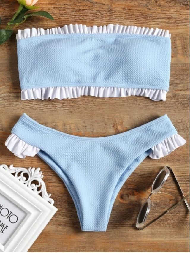 Ruffle bandeau bikini set in light blue