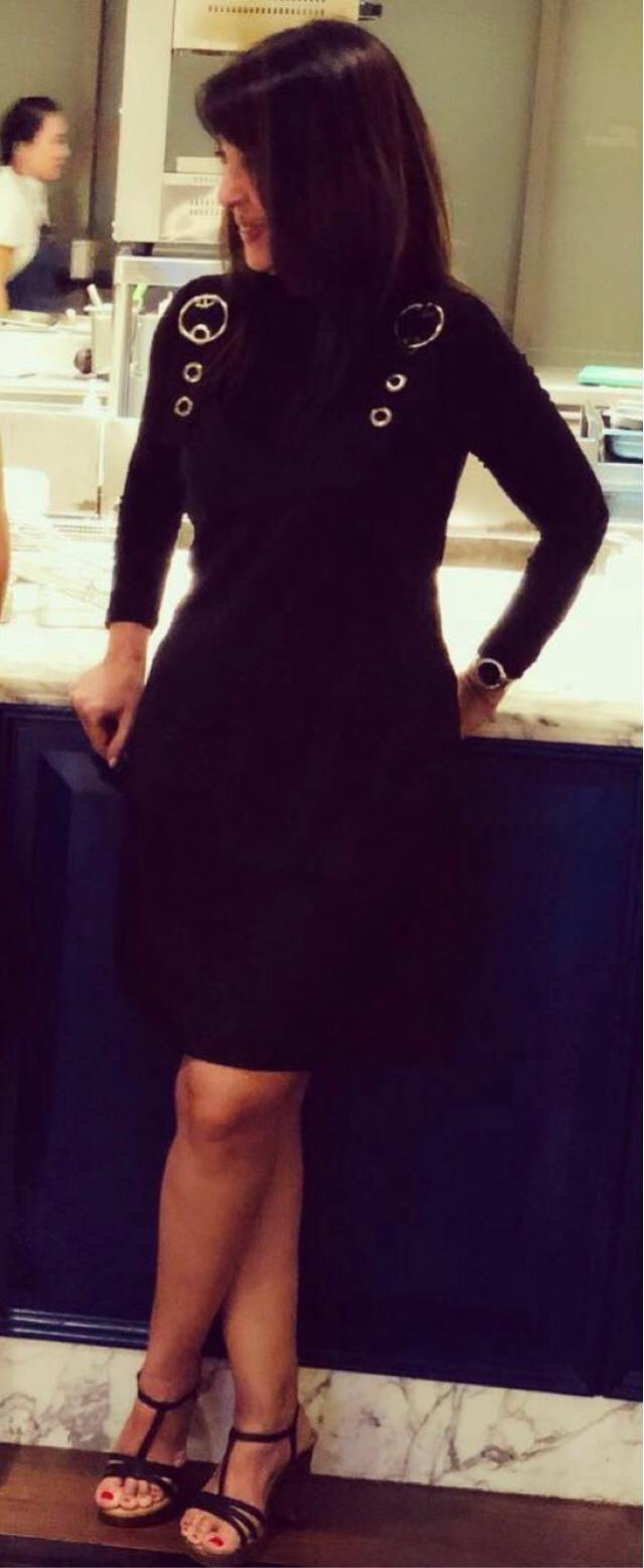 Black dress on black top