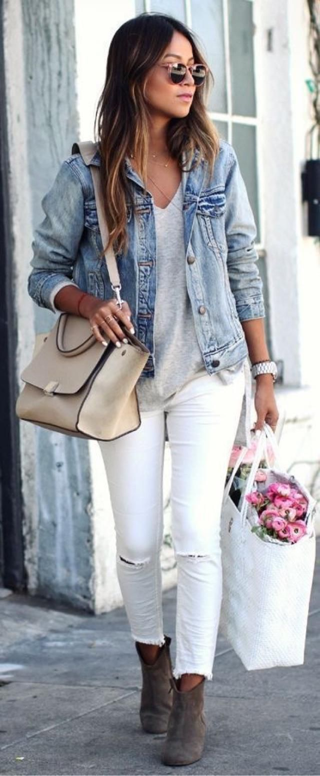 Must have staple items in your closet- Jean jacket and skinny jeans. Buy the look here at Zaful     …