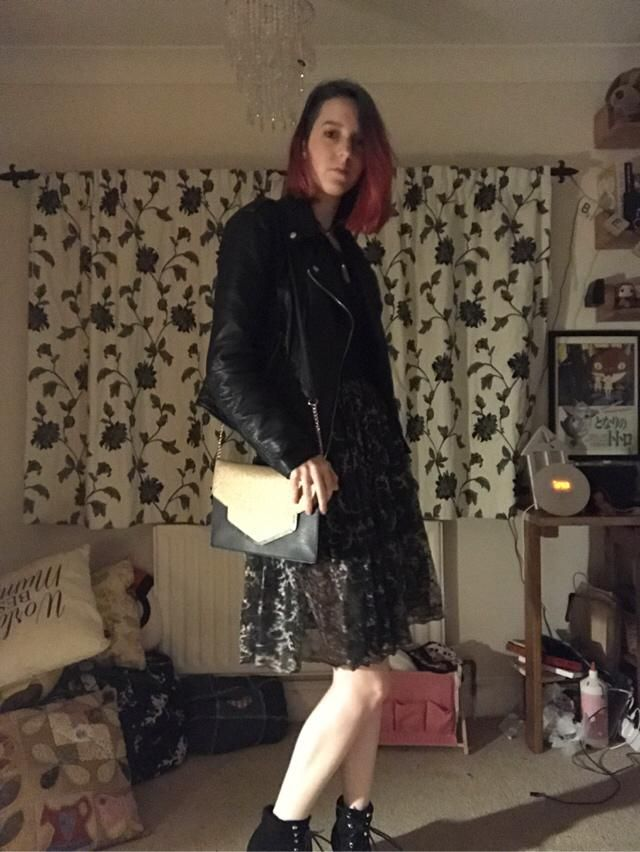 Outfit my friend picked out to go with the latest hair colour! Thrifted T-shirt dress with upcycle…