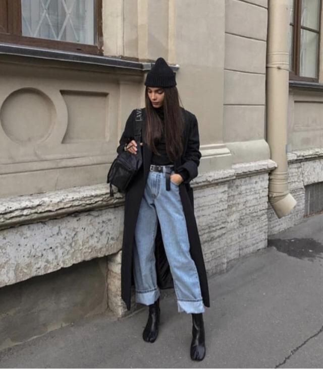Black style outfit including black shirt, jacket, bag, boots and cute hoodie