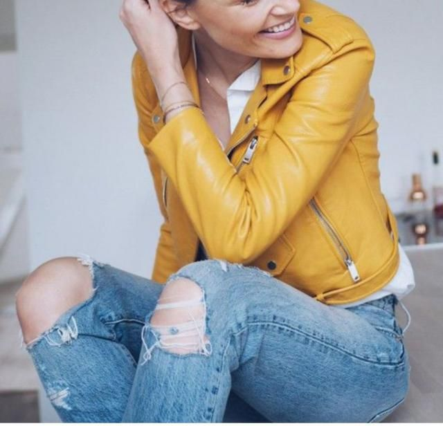 s://m.topshop.com › tsuk › product    Jump onto the motocross trend with this yellow leather jacket