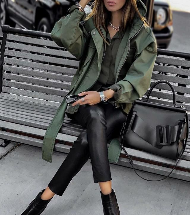 Glossy leather pants