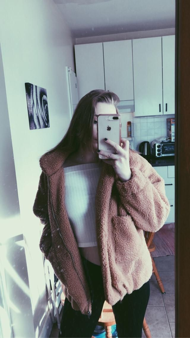My  ootd!! Black ripped jeans, off the shoulder white top and fluffy teddy coat