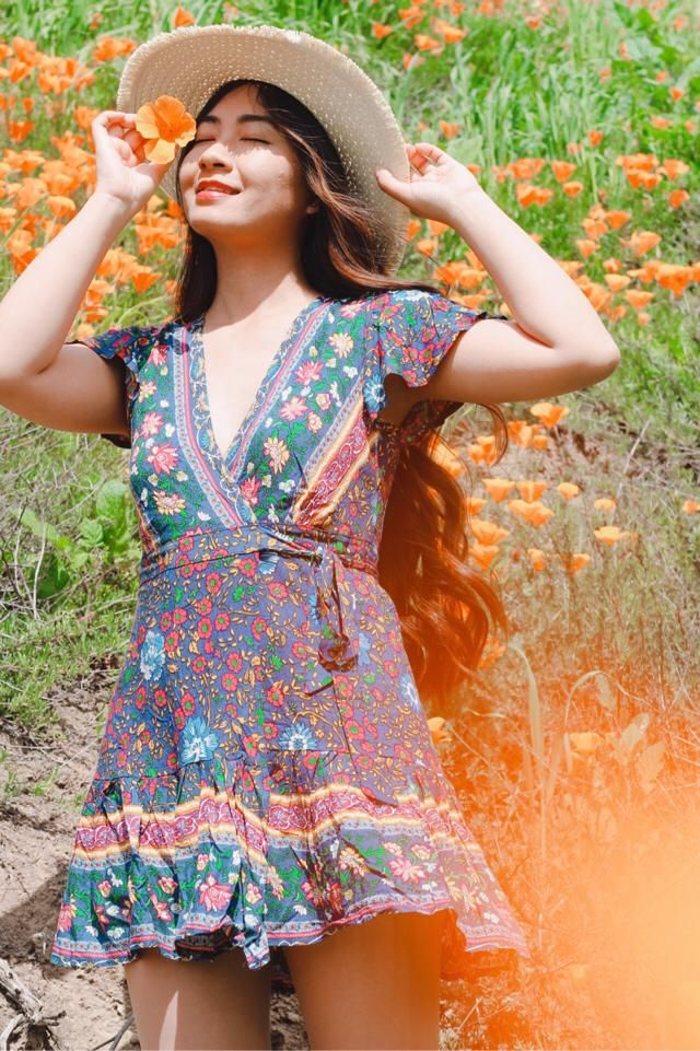 Beau was bohemian dress from zaful! Wrap dress are always my favorite because it's so easy to wear, can be a dress…