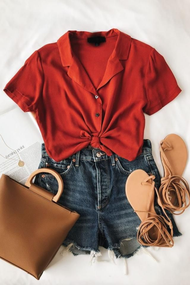 red with brown is such a pretty combination! also red shirts are very trendy get your today:) check below to b…