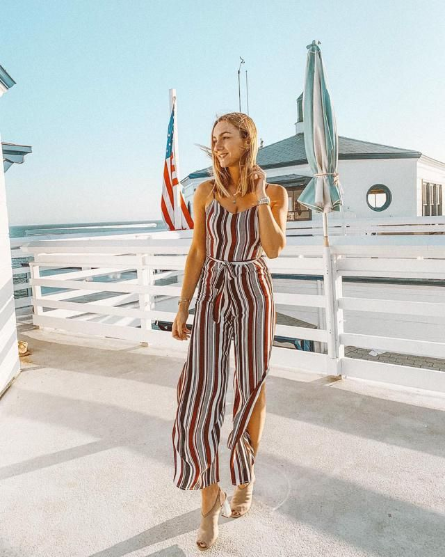 Striped rompers always a perfect option! One of my favorites summer looks! I wear this  for special ocasions and al…