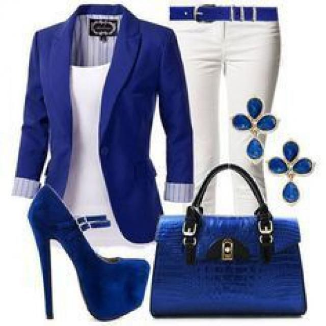 Royal  blue blazer white tank top and white  skinny jeans with kitten heels:)