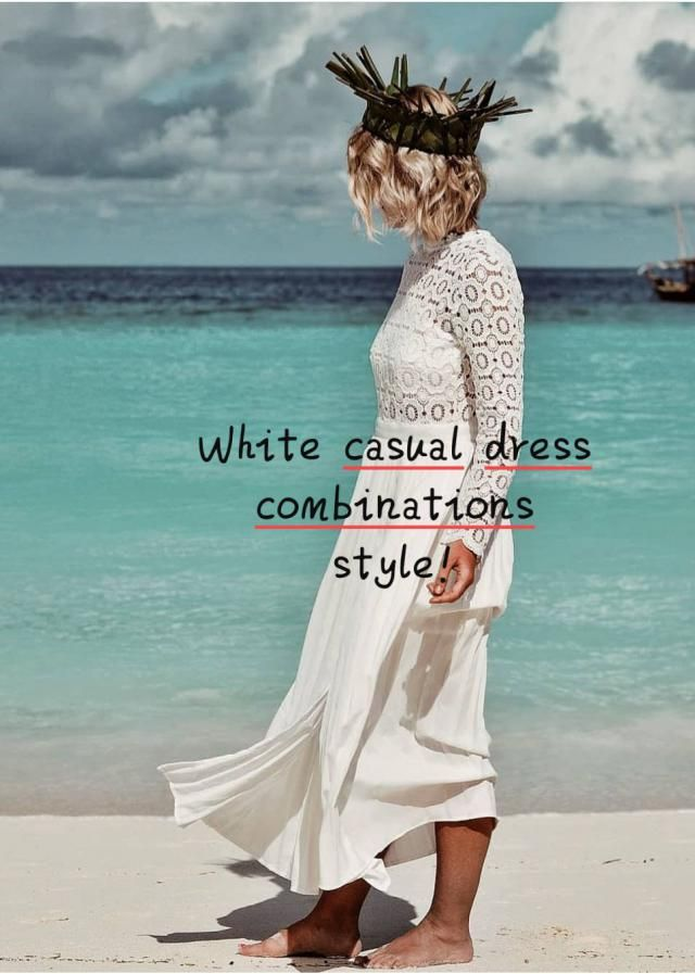 ☆White casual dress combinations style!☆ ▪Lighten things up with a little white dress for a look that's playful, in…