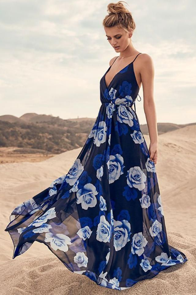 maxi blue printed dress