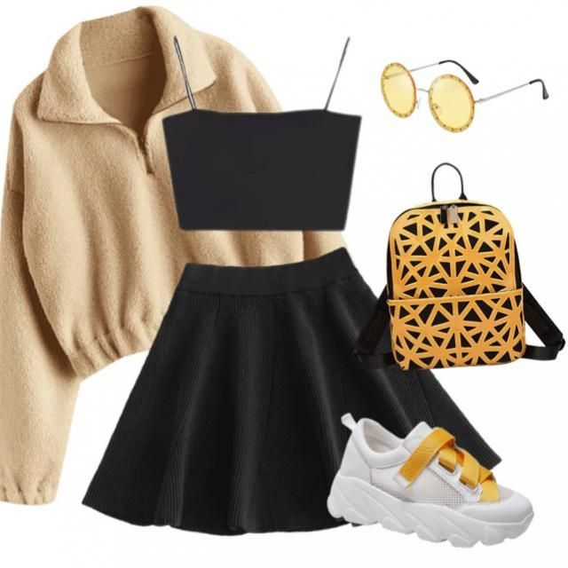 Black and yellow basic skater skirt outfit for a casual but cute and girly look!