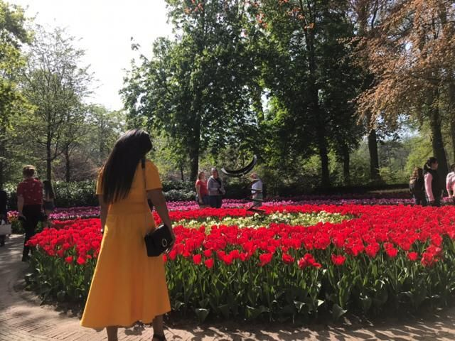A stranger's yellow dress, lovely flower park!